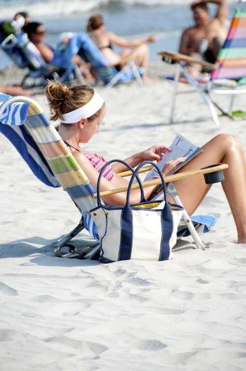 Beach Sand Girl Shore Sunshine Summer Beach Chair