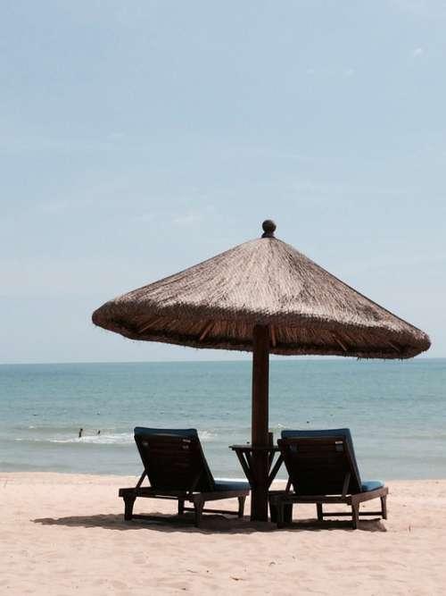 Beach Scene Sun Visor Chair Sea Water