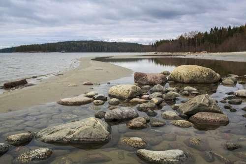 Beach Stones Sea Landscapes Cliffs Water Coastal