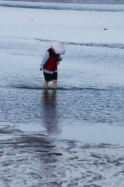 Beach Biarritz Woman Sand Sea France