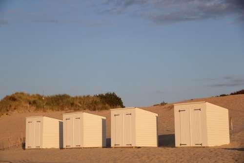Beach Beach Hut Blue Sand