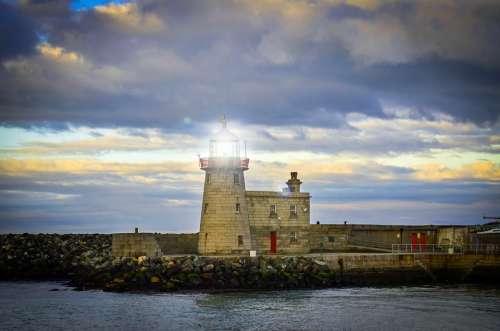 Beacon Lighthouse Coast Destination Harbor Ireland