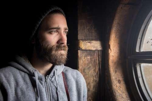 Beanie Guy Man Beard Jacket Grey Looking People