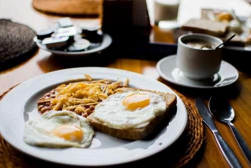 Beans Fried Eggs Breakfast Ceramic Food Plate