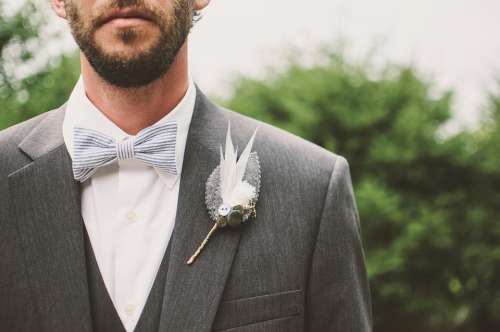 Beard Bow Tie Brooch Fashion Formal Formal Coat