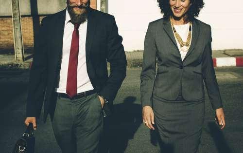 Beard Business Walking Businessman Businesswoman