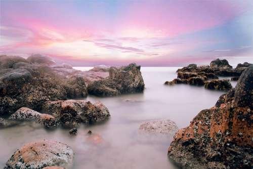 Beautiful Beach Vietnam Water Stones Long Exposure