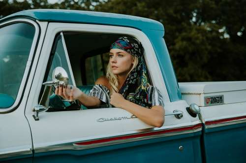 Beautiful Car Driver Face Fashion Female Model