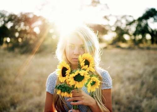 Beautiful Blond Blonde Field Flowers Girl