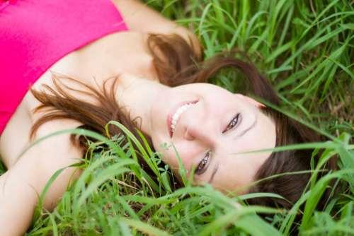 Beautiful Young Girl Women Lay Laying Grass