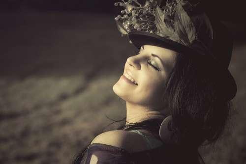 Beauty Woman Flowered Hat Cap Cosmetics Luck