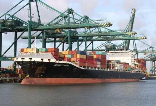 Begium Antwerp Harbor Container Ship Cranes