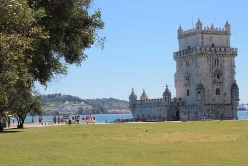 Belem Tower Tagus Tejo Lisbon Portugal Garden