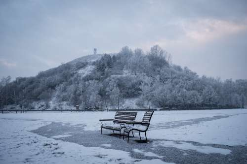 Bench Winter Blue Cold Snow Mountain Ice Nature