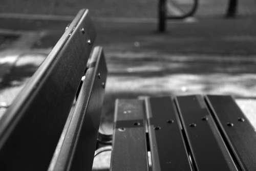 Bench Black White Relax Park Zen Pause Wood