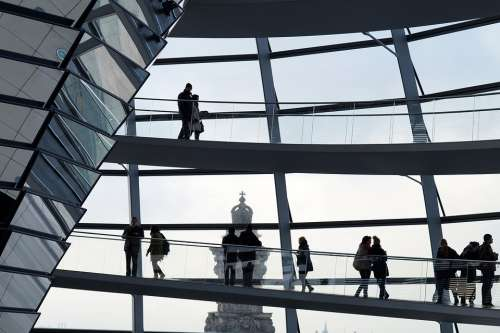 Berlin Reichstag People Silhouette Architecture