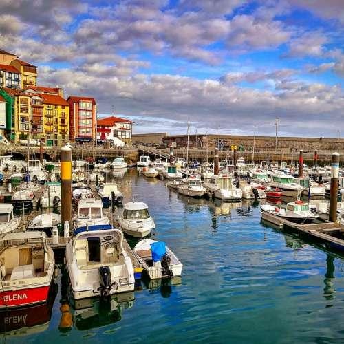 Bermeo Port Boats Fishing Spring