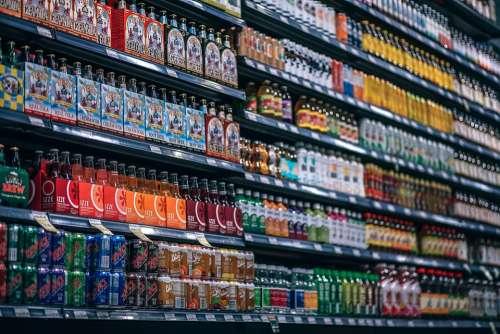 Beverages Bottles Shelf Cans Coke Cola