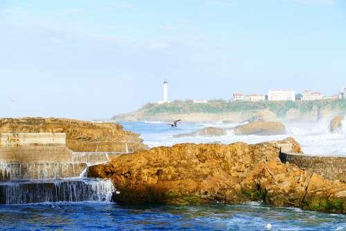Biarritz Sea Ocean Architecture France Beach Sky