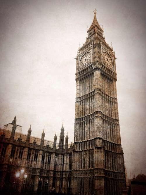 Big Ben London Clock Grunge Vintage Parliament