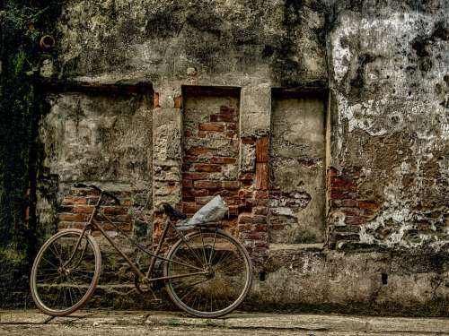 Bike Wall Phu Xuyen Hanoi Vietnam Old Decay