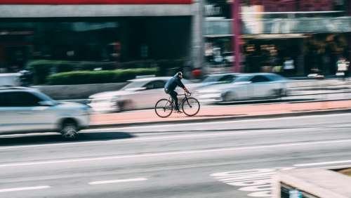 Bike Blur Cars City Cyclist Road Urban Vehicles