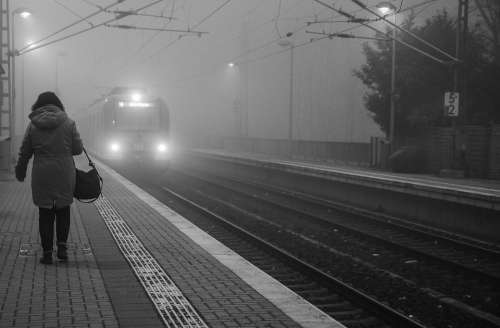 Black White Train Fog Lonely Woman Sad Female