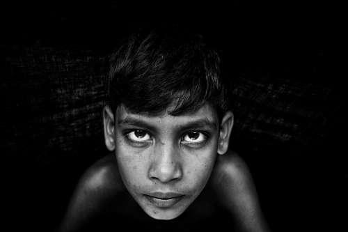 Black And White Boy Child Face Portrait Eyes