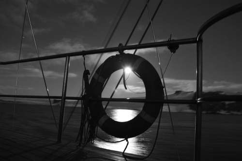Black And White Landscape Sailboat Boat Life Guard