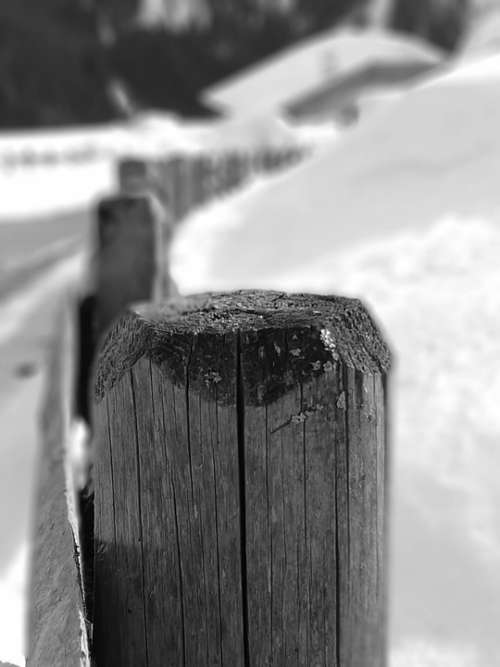 Black And White Picket Fence Snow Winter Wood Cold