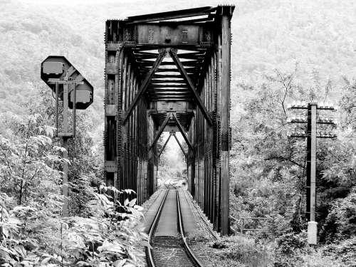 Black And White Railway Bridge Railway Bridge Rails