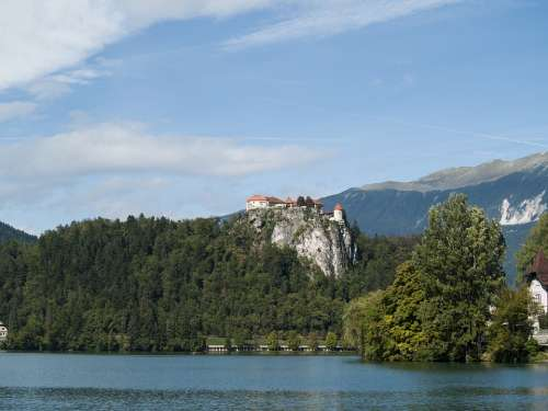 Bled Castle Slovenia Forest Lake Europe