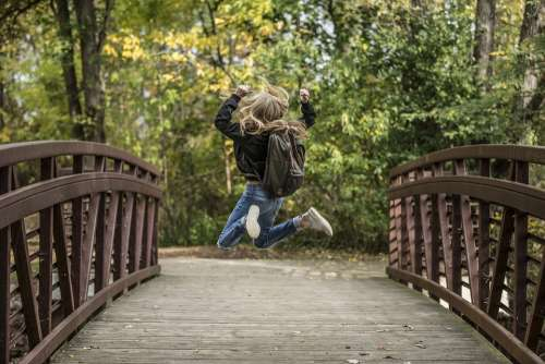 Blond Bridge Fun Girl Happy Joy Jumping Outdoors