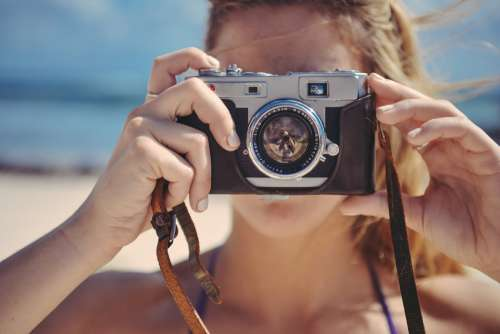 Blonde Girl Taking Photo Photography Vintage