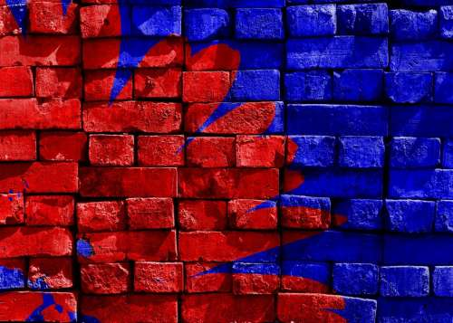 Blue Red Painted Brick Wall Artwork Art