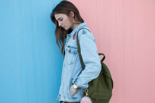 Blue Denim Jacket Clothing Fashion Bag Backpack