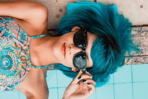 Blue Sunglasses Woman Pool Look Girl Lying Relax