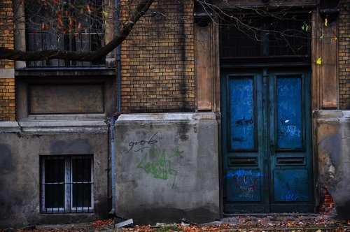 Blue Door The Door Wall Lake Dusia Autumn Brick