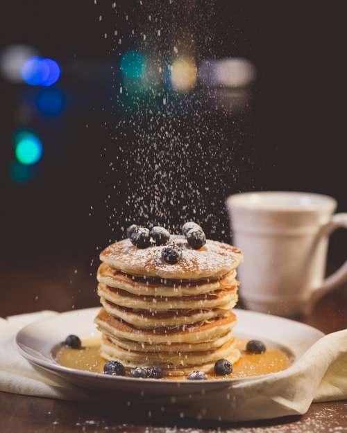 Blueberries Breakfast Pancakes Blur Close-Up
