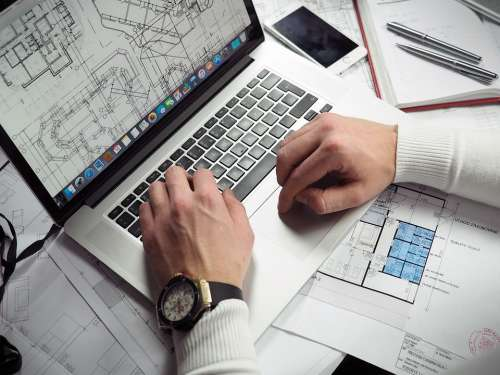 Blueprints Entrepreneur Hands Laptop Macbook