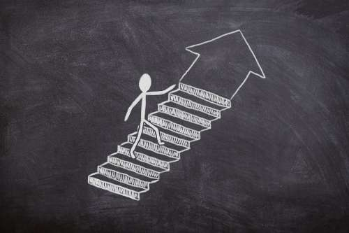 Board Chalk Success Stairs Business Work Away