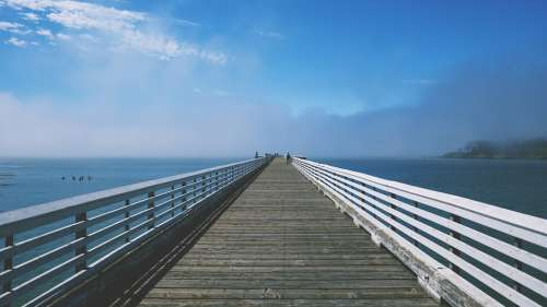 Boardwalk Pier Bridge Deck Water Sky Blue Wooden