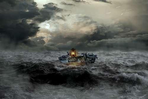 Boat Distress Sea Wave Forward Rough Sea