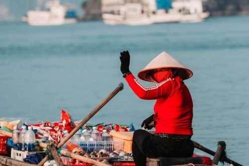Boat Asian Vietnam Vietnamese Sea Travel Fishing
