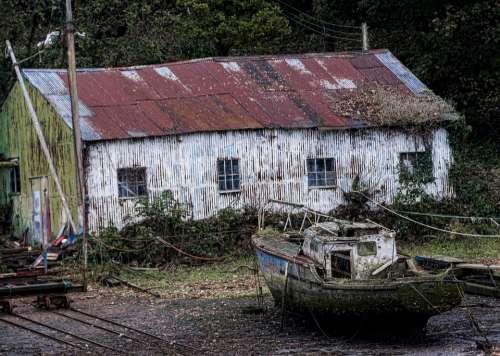 Boat Yard Wreck Boatyard Sea Shoreline