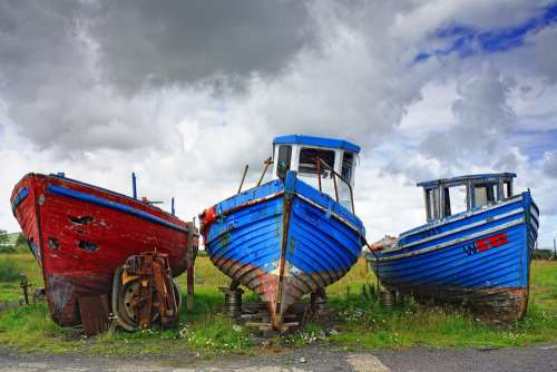 Boat Blue Atlantic Ireland West Coast Sky Nature