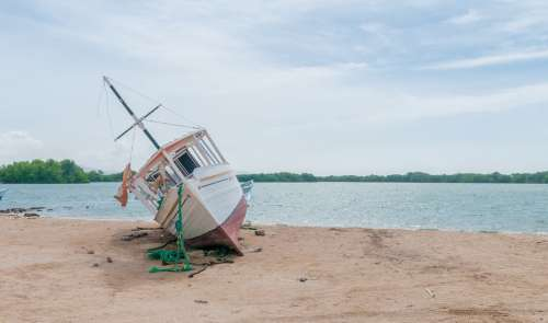 Boat Beached Wreck Water Sand Seascape Land Dry