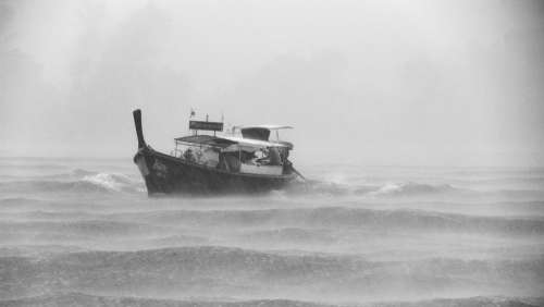 Boat Storm Rain Raining Vessel Waves Ocean Sea