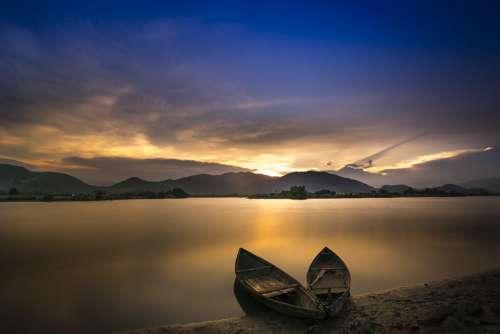 Boats Sea Coast Calm Rowing Boats Water Sunset