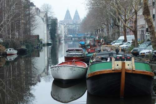 Boats Reflection Water Nature Travel Amsterdam